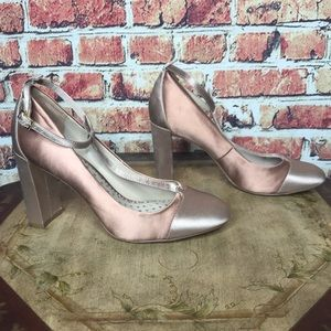 Boden Pink and Blush Satin T Strap Block Heels